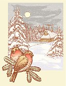 The vector image of a winter landscape and two birds on a branch.