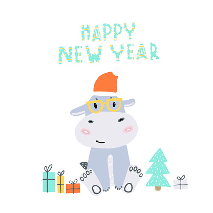 New Year's card with a hippo. Happy New year. Merry Christmas.
