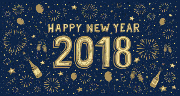 New Year's card with fireworks in the background vector art illustration