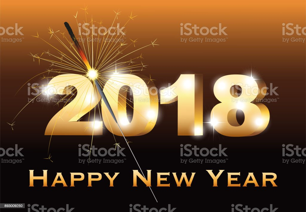 Neujahrskarte Mit Wunderkerze Und Neues Jahr Wünscht Silvester ...