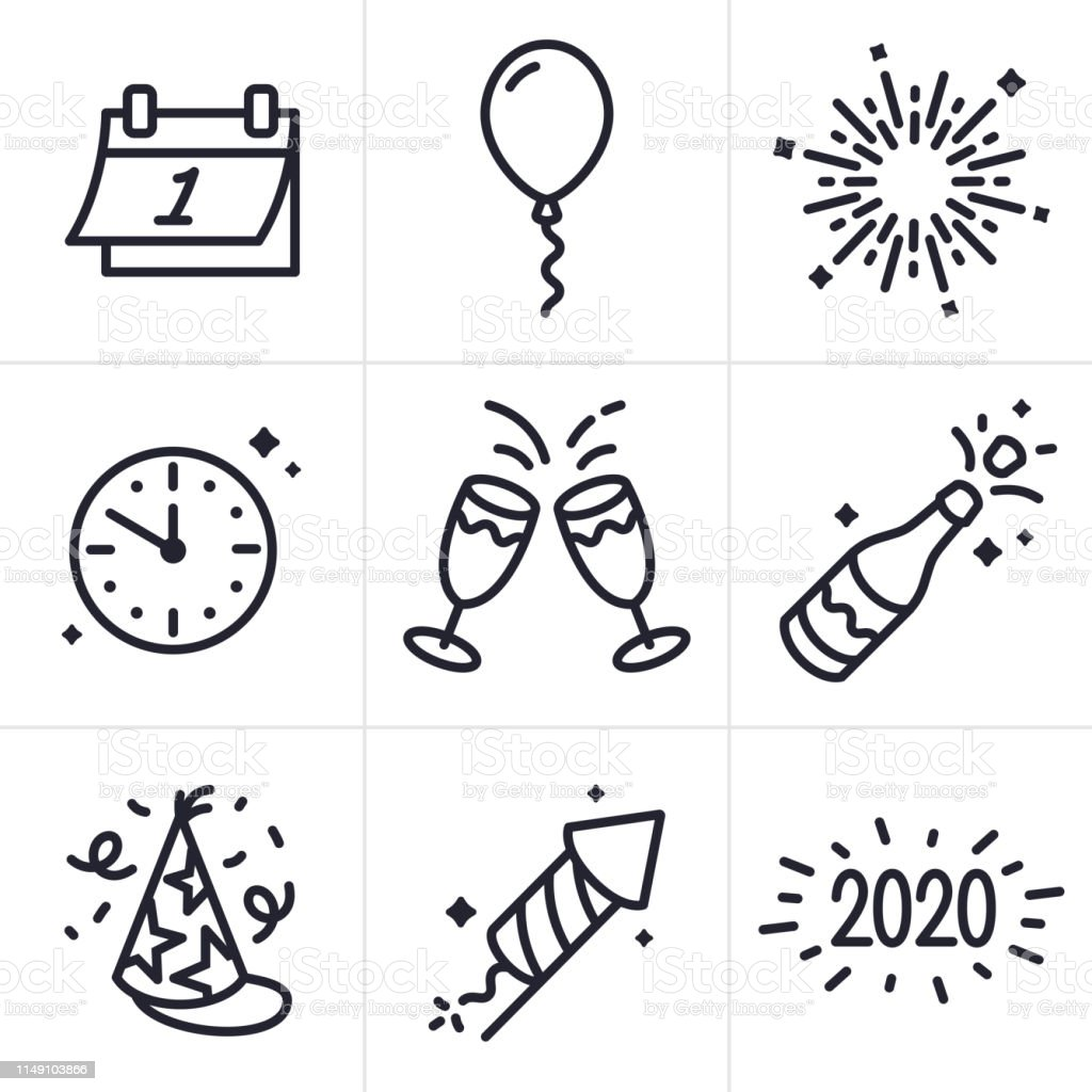 New Years Celebration Line Icons and Symbols - Royalty-free 2020 arte vetorial