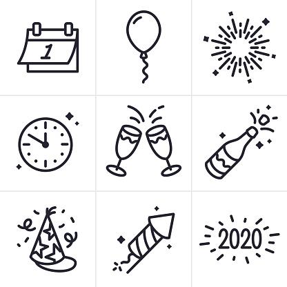 New Years Celebration Line Icons and Symbols
