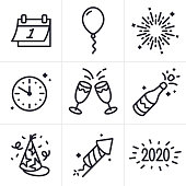 Happy New Years line icons and symbols for party and celebration.