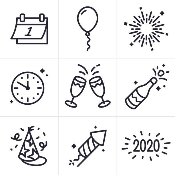 ilustraciones, imágenes clip art, dibujos animados e iconos de stock de los iconos y símbolos de la línea de celebración de años nuevos - año nuevo