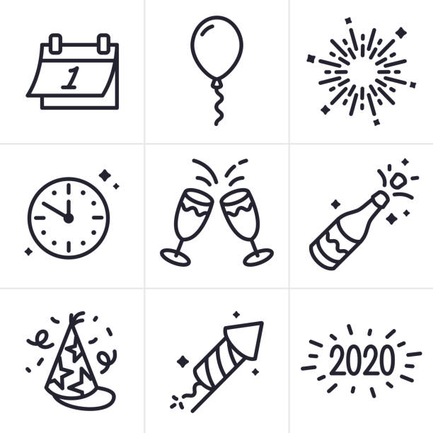 new years celebration line icons and symbols - spark stock illustrations