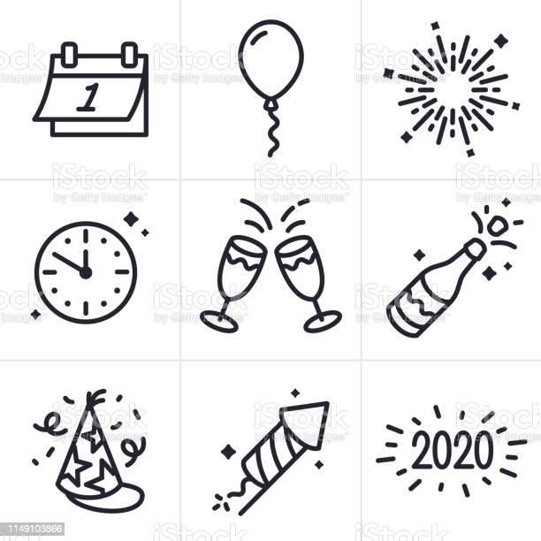 New Years Celebration Line Icons And Symbols - Arte vetorial de stock e mais imagens de 2020