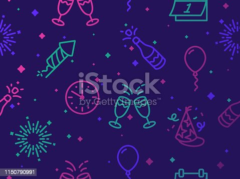 Happy New Years line icons and symbols for party and celebration seamless background pattern.