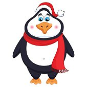 New Year's cheerful cute penguin in winter red hat