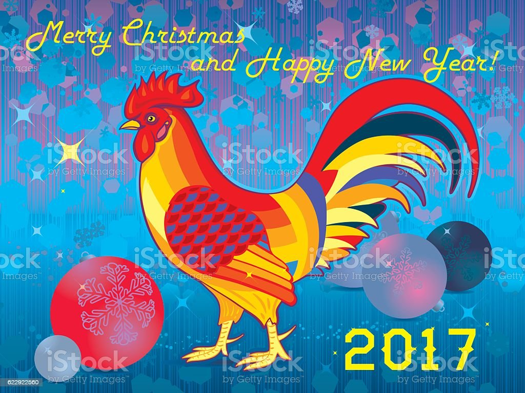New Years Christmas Greeting Card With Rooster And Balls Stock