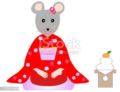 New Year's card material. Rats are lion dancing and climbing Mt. Fuji to see the first sunrise. A mouse is wearing a traditional Japanese kimono to greet the New Year.