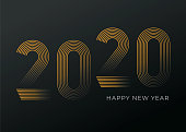 New Year's Day card 2020. Happy new year design. Stock illustration