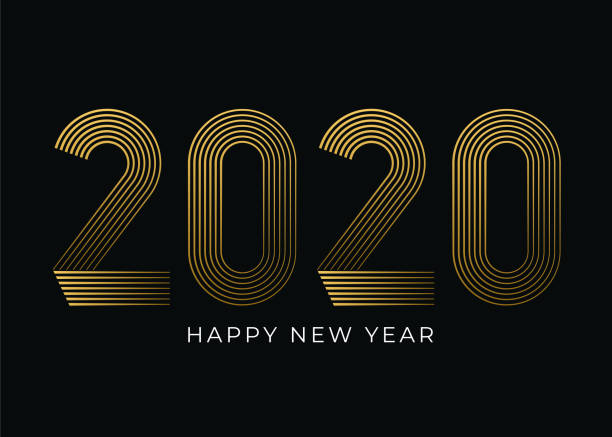 New Year's Day card 2020. Happy new year design. vector art illustration