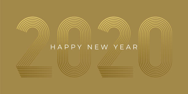 new year's day card 2020. happy new year design. - new years day stock illustrations
