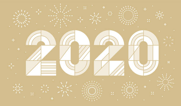 New Year's day card 2020 with fireworks vector art illustration