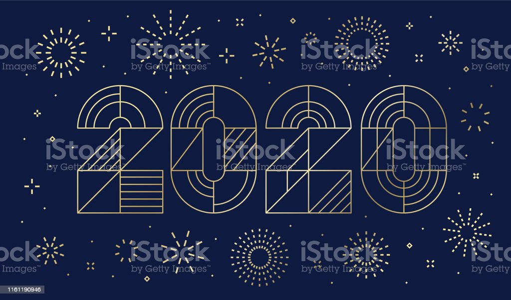 New Year's day card 2020 with fireworks - Royalty-free 2019 arte vetorial