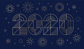 New Year's day card 2020 with fireworks