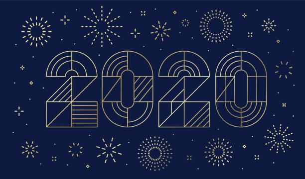 ilustraciones, imágenes clip art, dibujos animados e iconos de stock de tarjeta de año nuevo 2020 con fuegos artificiales - año nuevo