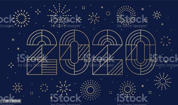 New Years Day Card 2020 With Fireworks - Arte vetorial de stock e mais imagens de 2019