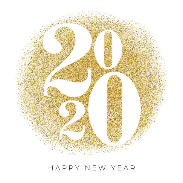2020 - new year's day card with golden glitter. stock illustration - new years day stock illustrations