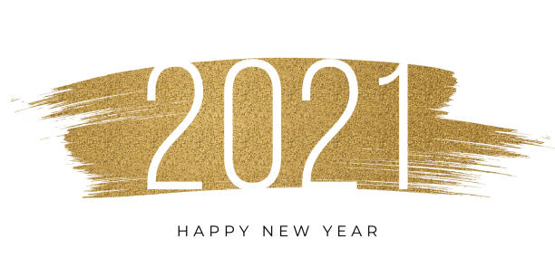 2021 - New Year's Day card with golden glitter. Stock illustration 2021 - New Year's Day card with golden glitter. Stock illustration new years day stock illustrations