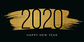 2020 - New Year's Day card with golden glitter. Stock illustration