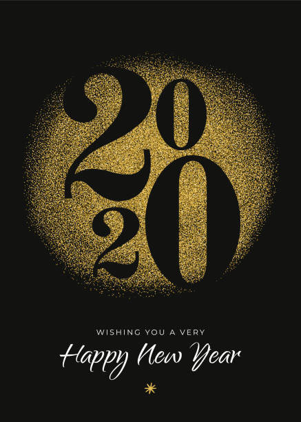 2020 - New Year's Day card with golden glitter. 2020 - New Year's Day card with golden glitter. Stock illustration new years day stock illustrations
