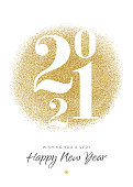 2021 - New Year's Day card with golden glitter. Stock illustration