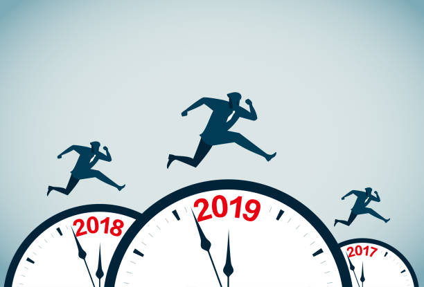 new year's day commercial illustrator wall clock stock illustrations