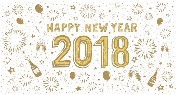 New Year's doodle card 2018 Handwritten wishes with motif of a bottle of champagne and glasses. You can edit the colors or sizes easily if you have Adobe Illustrator or other vector software. All shapes are vector fireworks illustrations stock illustrations