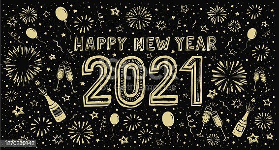istock New Year's doodle card on fireworks background, confetti and stars 1270230142