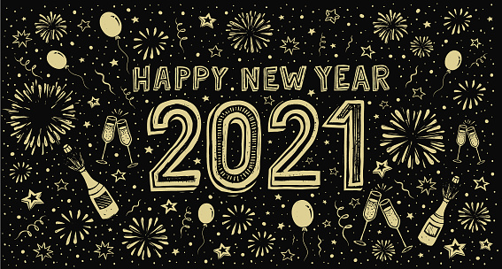New Year's doodle card on fireworks background, confetti and stars