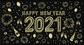 Hand-drawn new year's eve wishes on fireworks background. You can edit the colors or sizes easily if you have Adobe Illustrator or other vector software. All shapes are vector