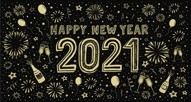 New Year's doodle card on fireworks background, confetti and stars Hand-drawn new year's eve wishes on fireworks background. You can edit the colors or sizes easily if you have Adobe Illustrator or other vector software. All shapes are vector happy new year 2021 stock illustrations