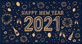 istock New Year's doodle card on fireworks background, confetti and stars 1270230237