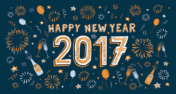 new years doodle card vector art illustration