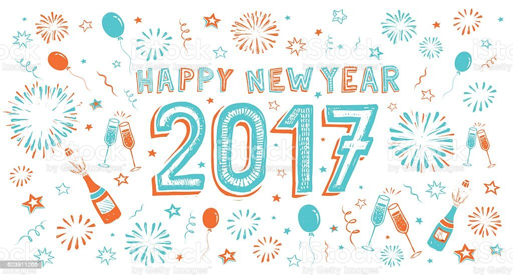 New Year's doodle card. vector art illustration