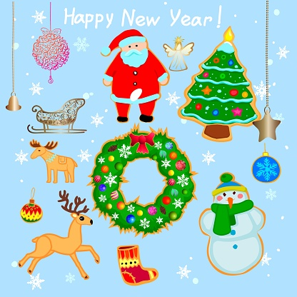 New Year's doodles. A set of Christmas decorations, santaclaus, snowman, clothes, sleigh and other toys. Vector illustration