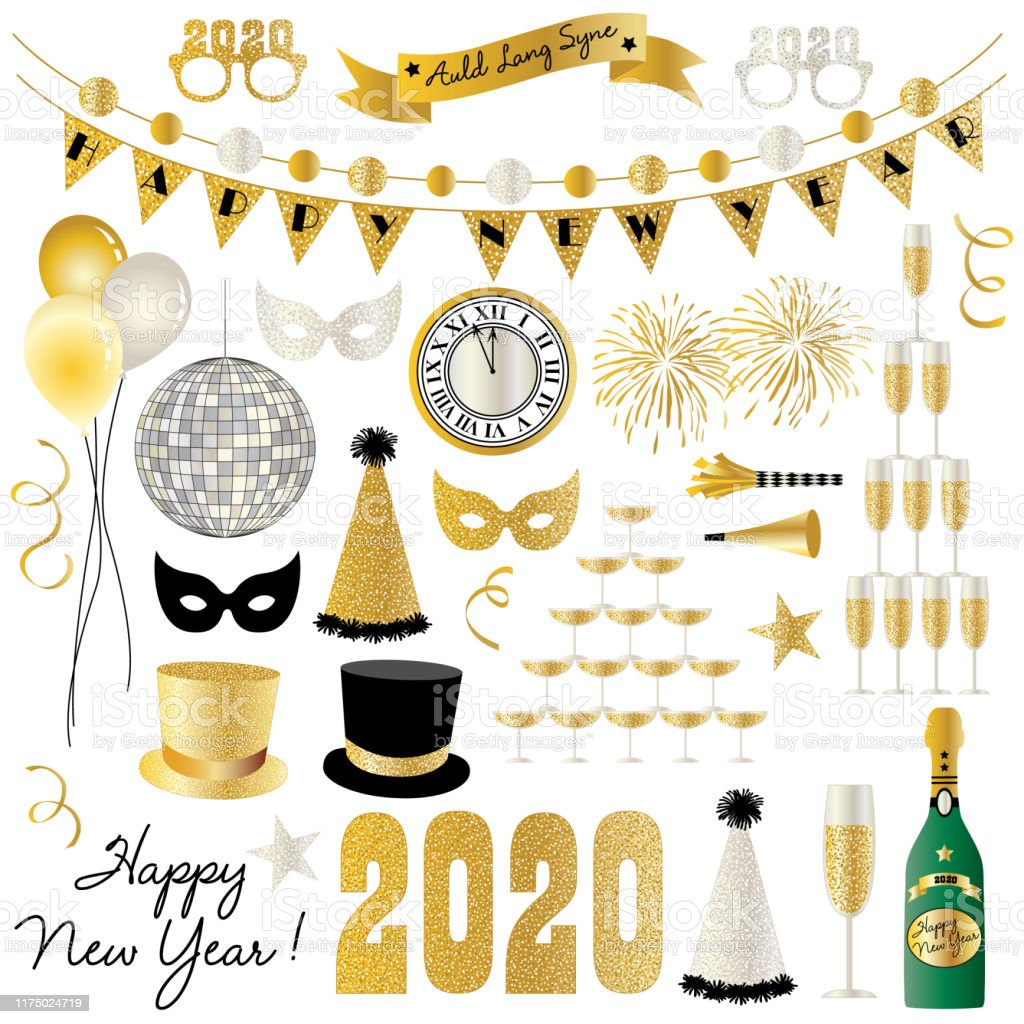 New Years Eve 2020 graphics - Royalty-free 2020 arte vetorial