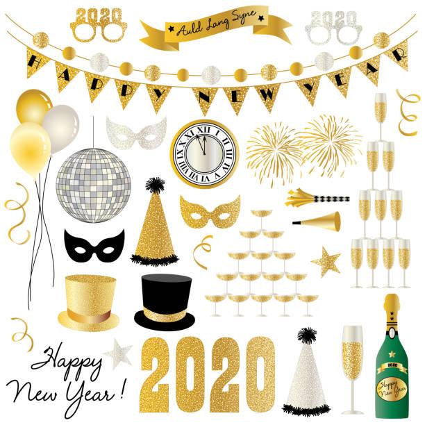 ilustraciones, imágenes clip art, dibujos animados e iconos de stock de gráficos de nochevieja de 2020 - año nuevo
