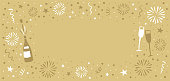 New Year's Eve background with fireworks, champagne bottle, glasses, stars. Hand-drawn graphic.You can edit the colors or sizes easily if you have Adobe Illustrator or other vector software. All shapes are vector