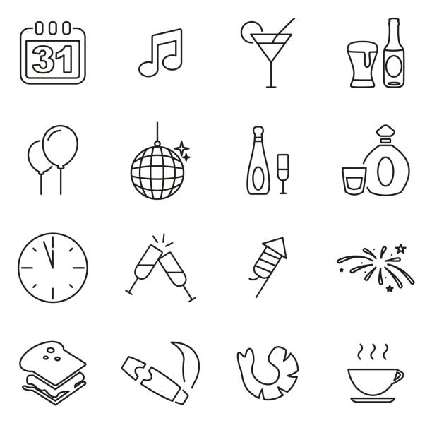 New Years Eve Celebration or Party Icons Thin Line Vector Illustration Set This image is a vector illustration and can be scaled to any size without loss of resolution. explosive fuse stock illustrations