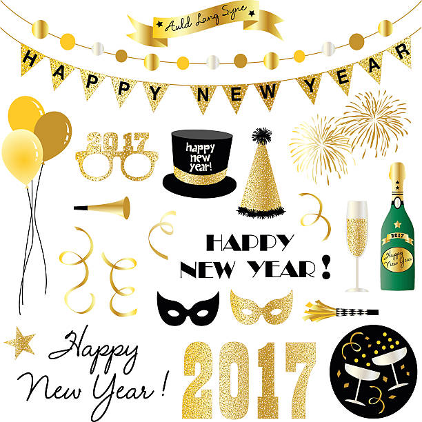 stockillustraties, clipart, cartoons en iconen met new years eve clipart - blaasinstrument