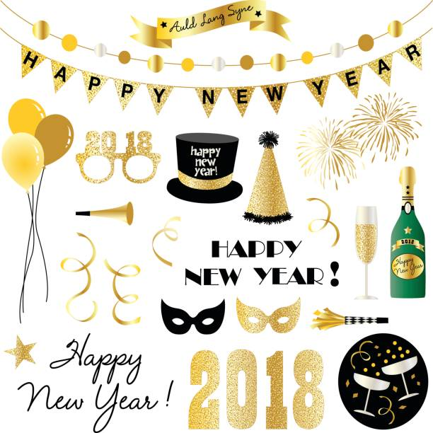new years eve clipart - new years eve stock illustrations, clip art, cartoons, & icons