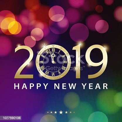 Join the countdown party on the New Year's Eve of 2019 with the colorful light background