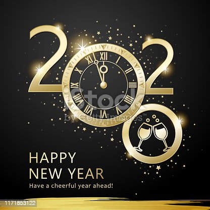 Join the countdown party on the New Year's Eve of 2020 with metallic clock on the starry background