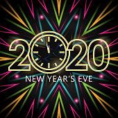Join the countdown party on the New Year's Eve of 2020 with glowing clock on the colorful beams of light background