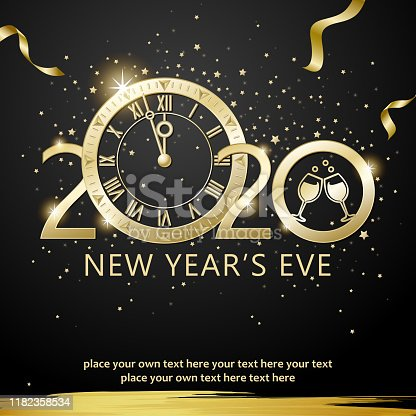 Join the countdown party on the New Year's Eve of 2020 with metallic clock and gold colored ribbons on the starry background