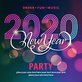 Welcome to the disco party for the New Year's Eve 2020 with colorful light background