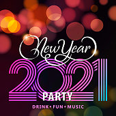 Welcome to the disco party for the New Year's Eve 2021 with calligraphy on the colorful lights background