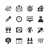 16 New Year's Eve Glyph Icons. New Year's Eve, Party, Celebration, Holiday, Midnight, Event, Decoration, Fireworks, Invitation, Disco Ball, Dancing, Dance Floor, Music, Fun, Ticket, Clock, 2020, 2021, Dress, Champagne, Alcohol, Drink, DJ, Microphone, Singing, Selfie, Camera, Taking Photos, December, Dinner, Friends and Family.